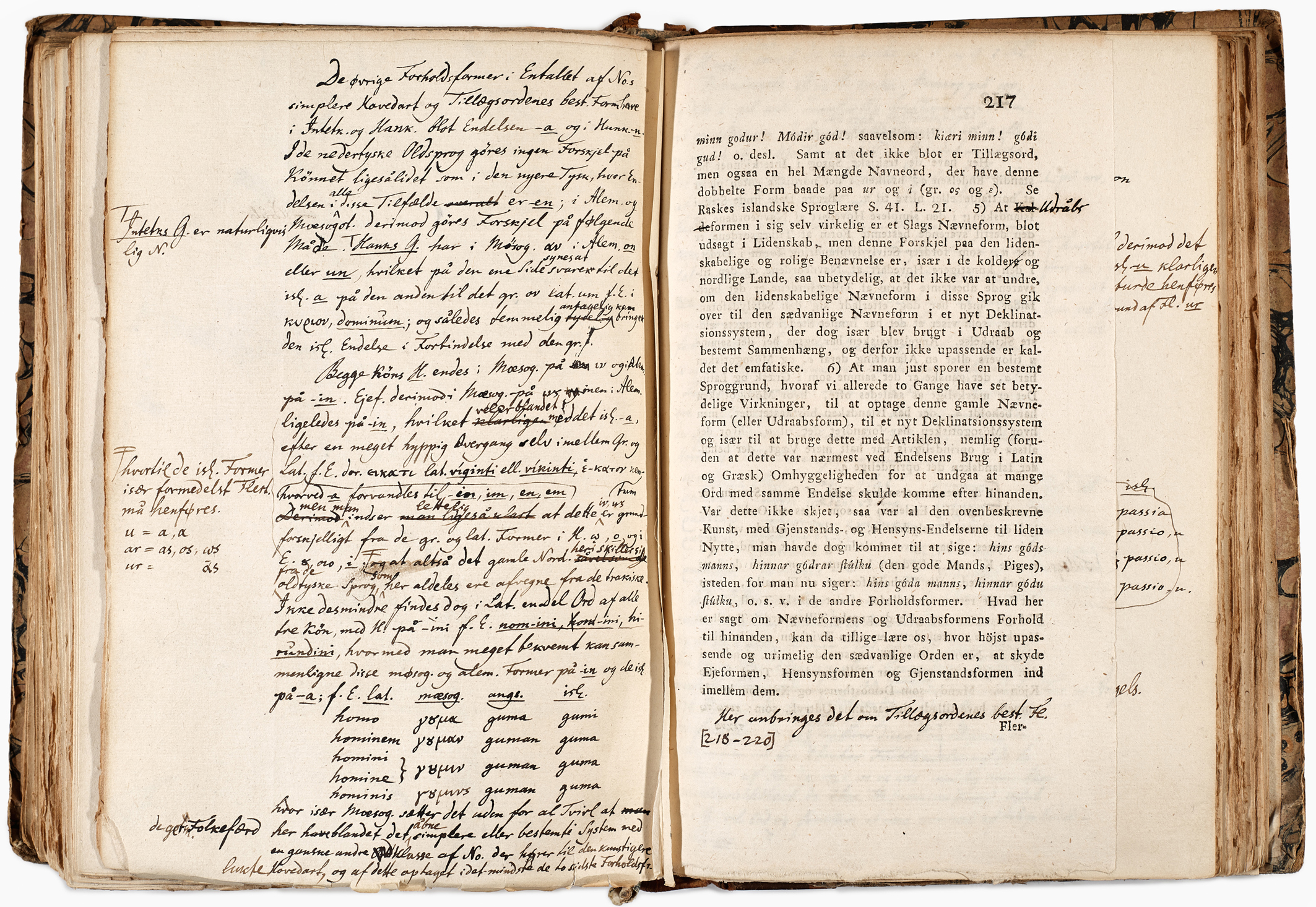 Pages of Rask 116 with the author's own notes