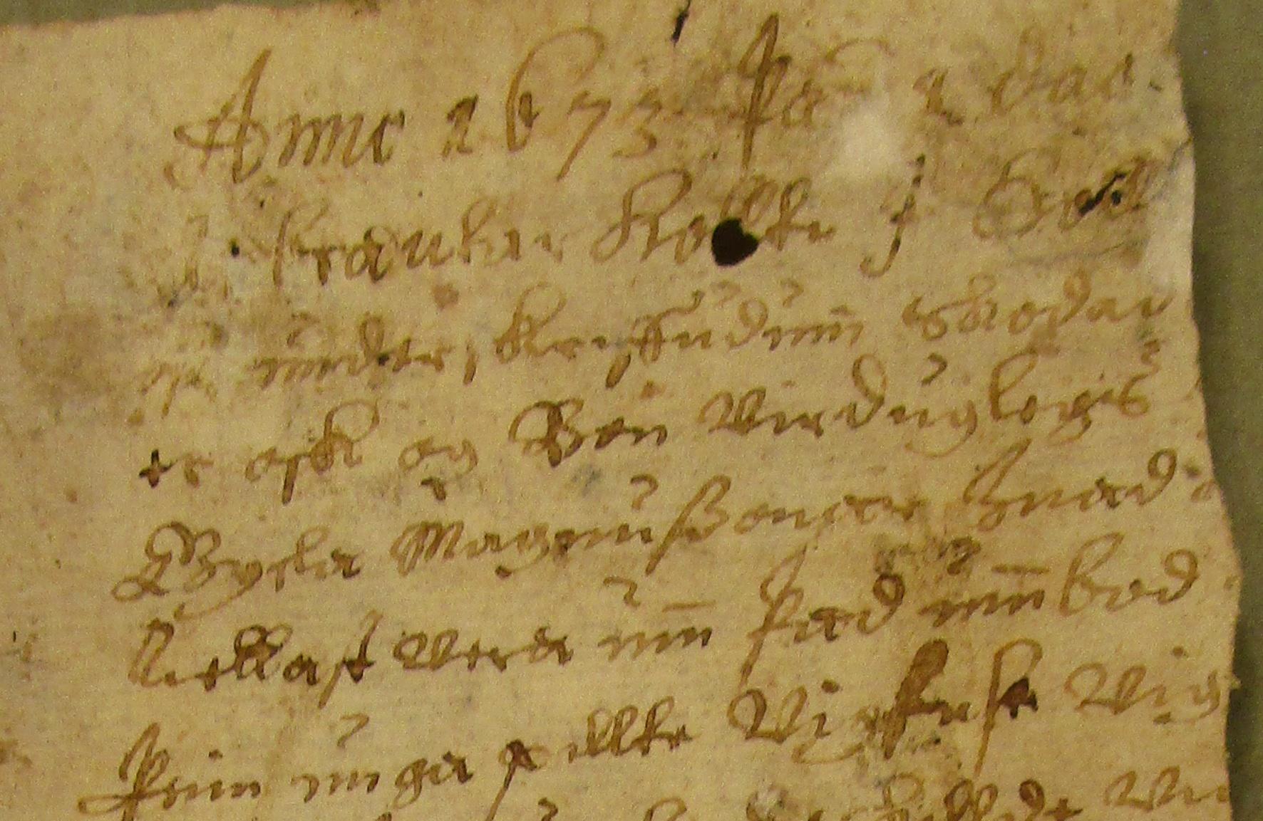 Fragmentet fra bindet i AM 177 fol.